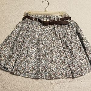 Belted, buttoned floral skater skirt
